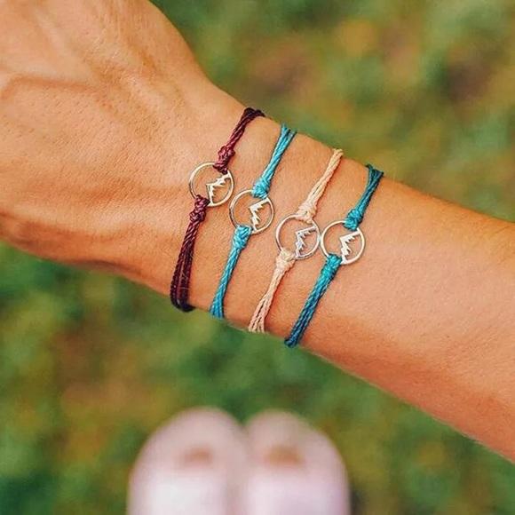 Set of 4 Adjustable Cord Mountain Bracelets